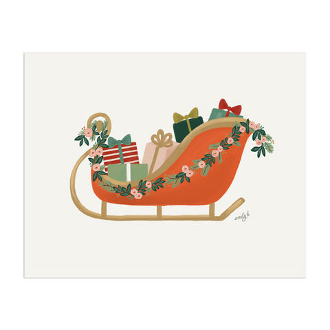 Christmas Sleigh Art Print - Anchor Point Paper Co.