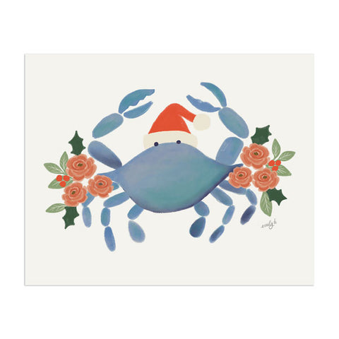 Holiday Crab Art Print - Anchor Point Paper Co.
