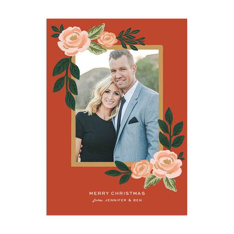 Christmas Flowers Custom Holiday Greeting - Anchor Point Paper Co.