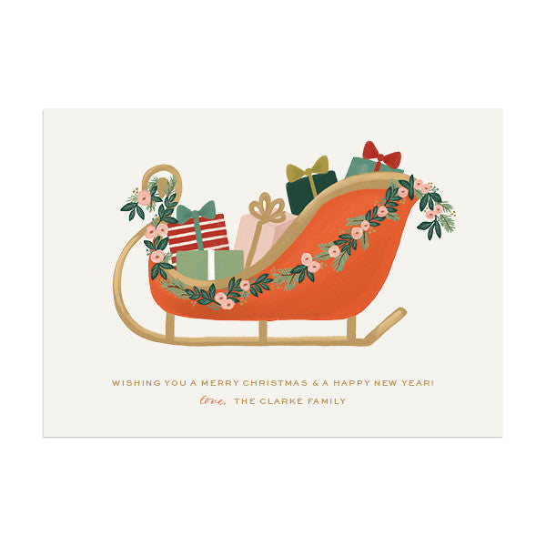 Christmas Sleigh Custom Holiday Greeting - Anchor Point Paper Co.