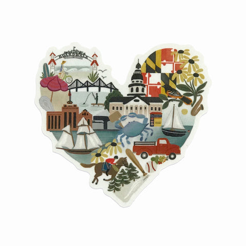 Maryland Heart Sticker - Anchor Point Paper Co.