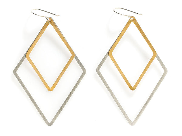Double Diamond Shape Earrings