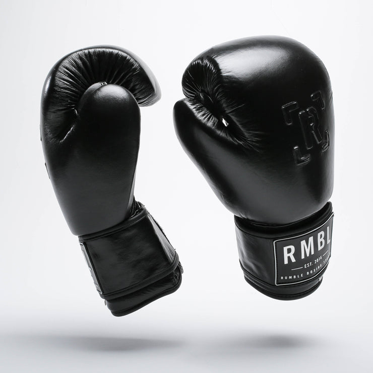 Rumble Premium Leather Boxing Gloves - Black Embossed