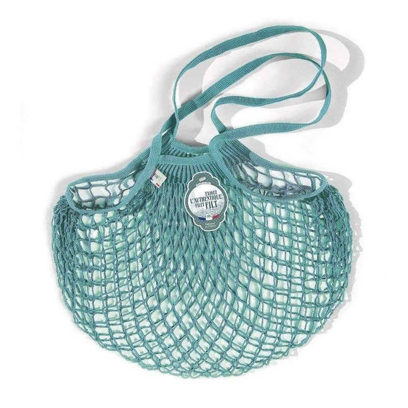 NET SHOPPING BAG - LARGE HANDLES - AQUABLUE