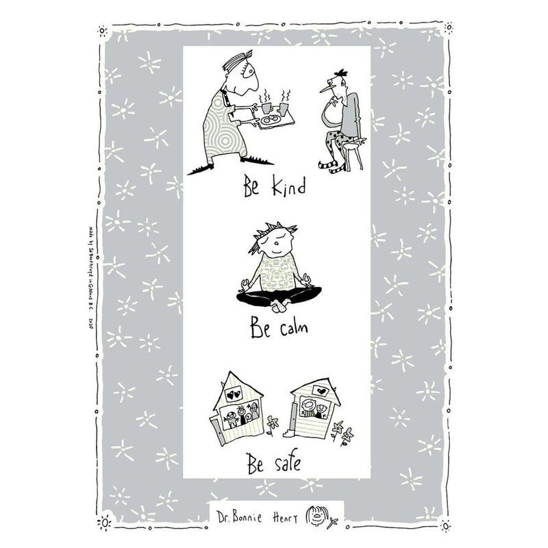 TEA TOWEL - BE KIND, BE CALM, BE SAFE - GRAY