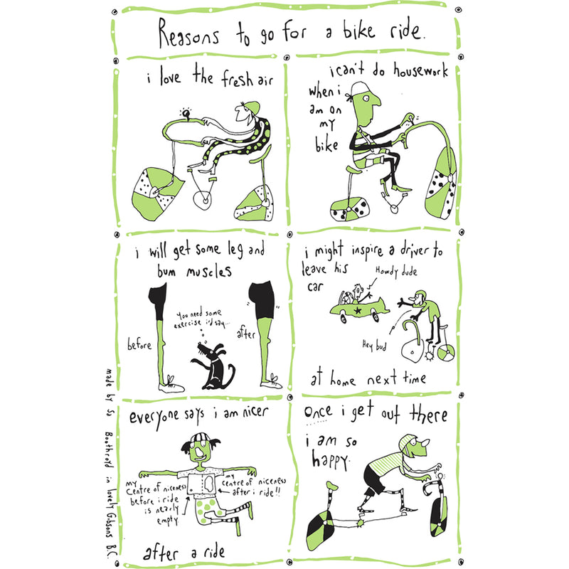 TEA TOWEL - REASONS TO GO FOR A BIKE RIDE