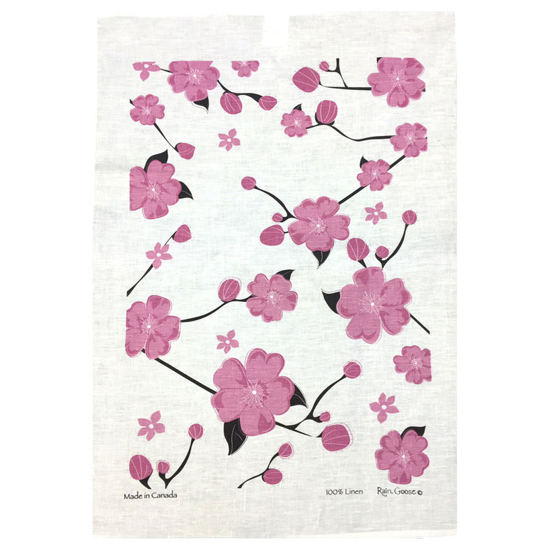 LINEN TEA TOWEL - Cherry Blossoms Pink