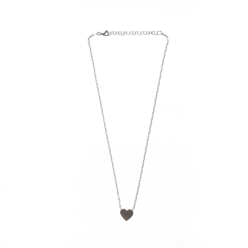 NECKLACE - TASHI BRUSHED STERLING SILVER - HEART