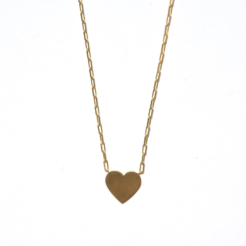 NECKLACE - BRUSHED 14 KARAT GOLD VERMEIL - HEART