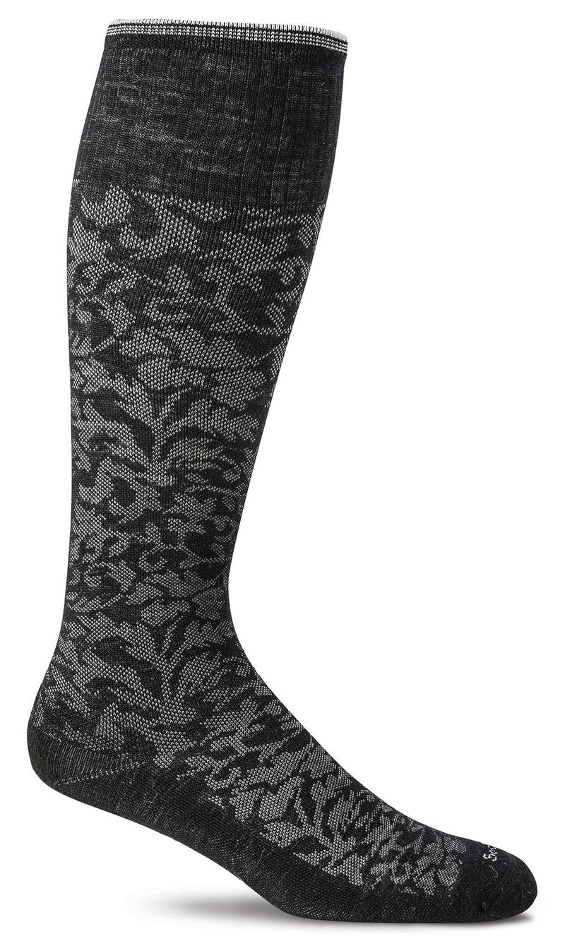 SOCKS - SOCKWELL GRADUATED COMPRESSION - DAMASK, BLACK