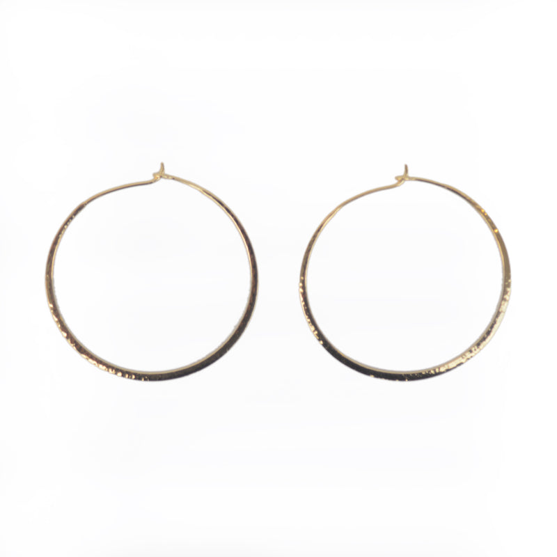 EARRINGS - TASHI 14 KARAT GOLD VERMEIL - LARGE HAMMERED HOOPS