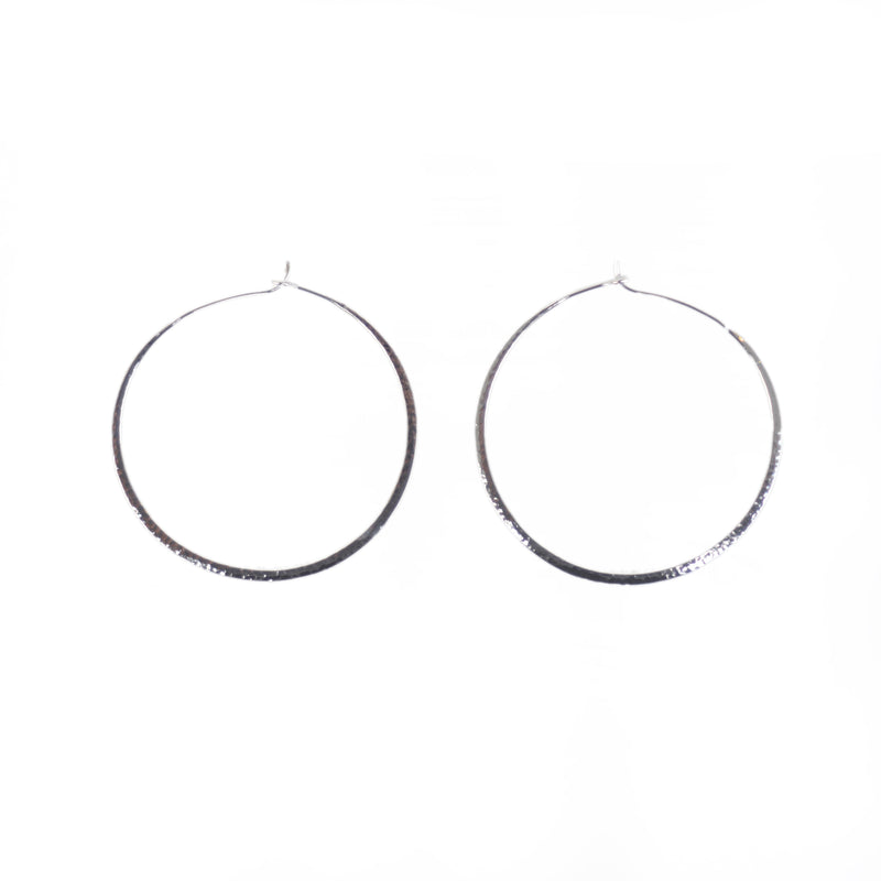 EARRINGS - TASHI STERLING SILVER - LARGE HAMMERED HOOPS