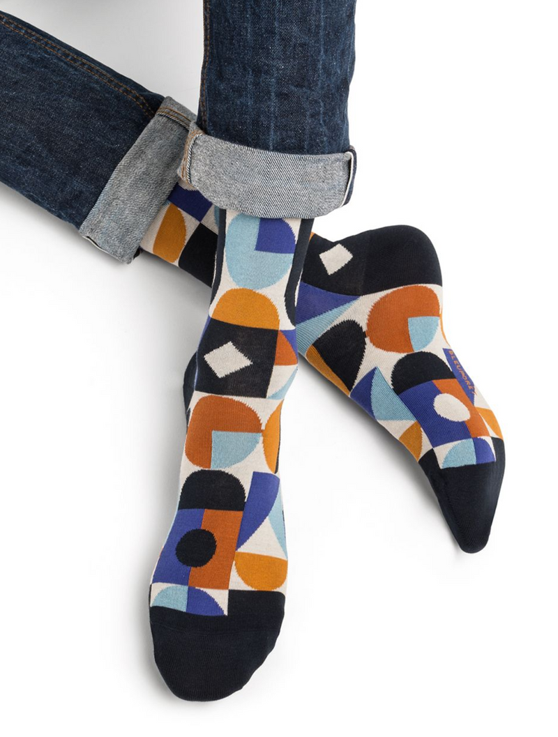 SOCKS - BLEUFORÊT MEN'S COTTON - GEOMETRIC, NAVY BLUE