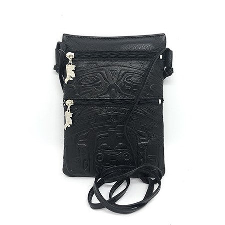 PASSPORT POUCH - EMBOSSED BEAR BOX DESIGN - BLACK LEATHER
