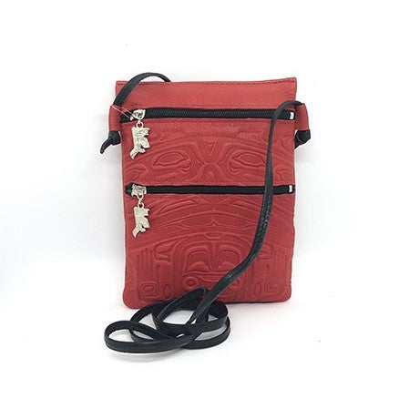 PASSPORT POUCH - EMBOSSED BEAR BOX DESIGN - RED DEERSKIN