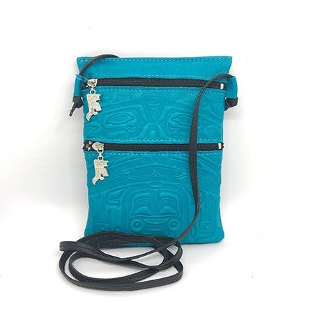 PASSPORT POUCH - EMBOSSED BEAR BOX DESIGN - TURQUOISE DEERSKIN
