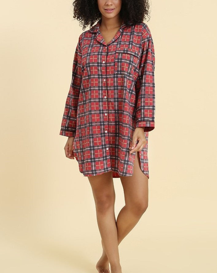 NIGHTSHIRT - RED PLAID FLANNEL