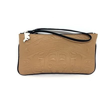 WRISTLET - EMBOSSED BEAR BOX DESIGN - SADDLE LEATHER