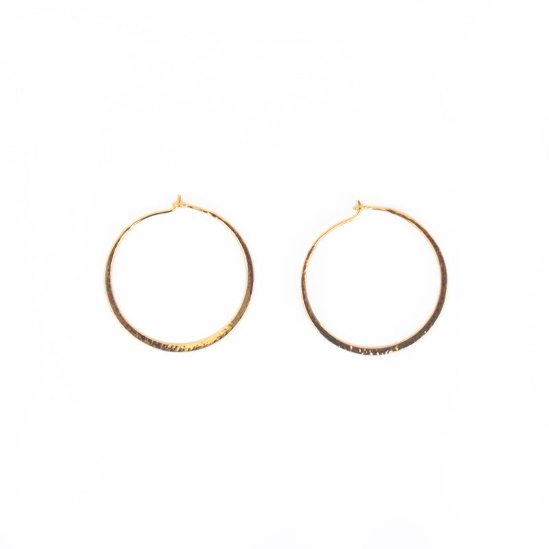 EARRINGS - TASHI 14 KARAT GOLD VERMEIL - SMALL HAMMERED HOOPS