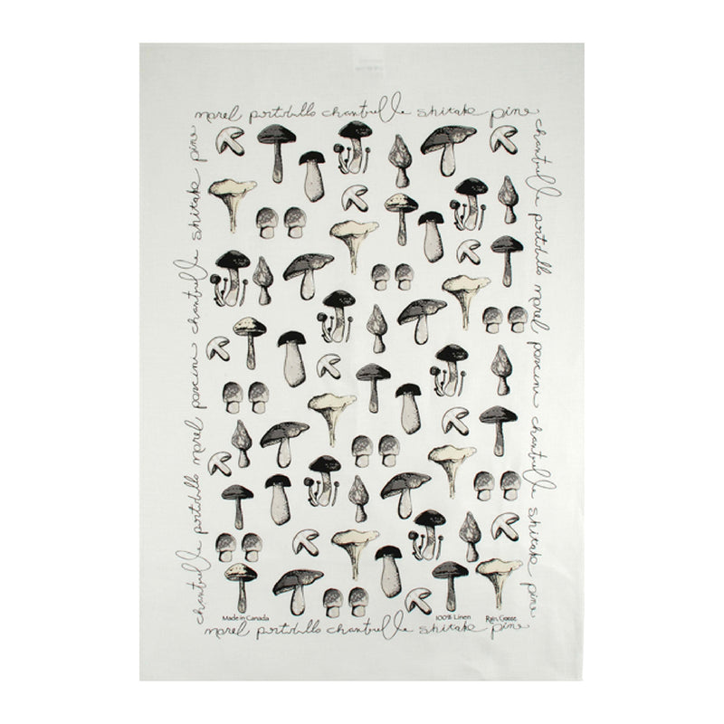 TEA TOWEL - MUSHROOMS WHITE