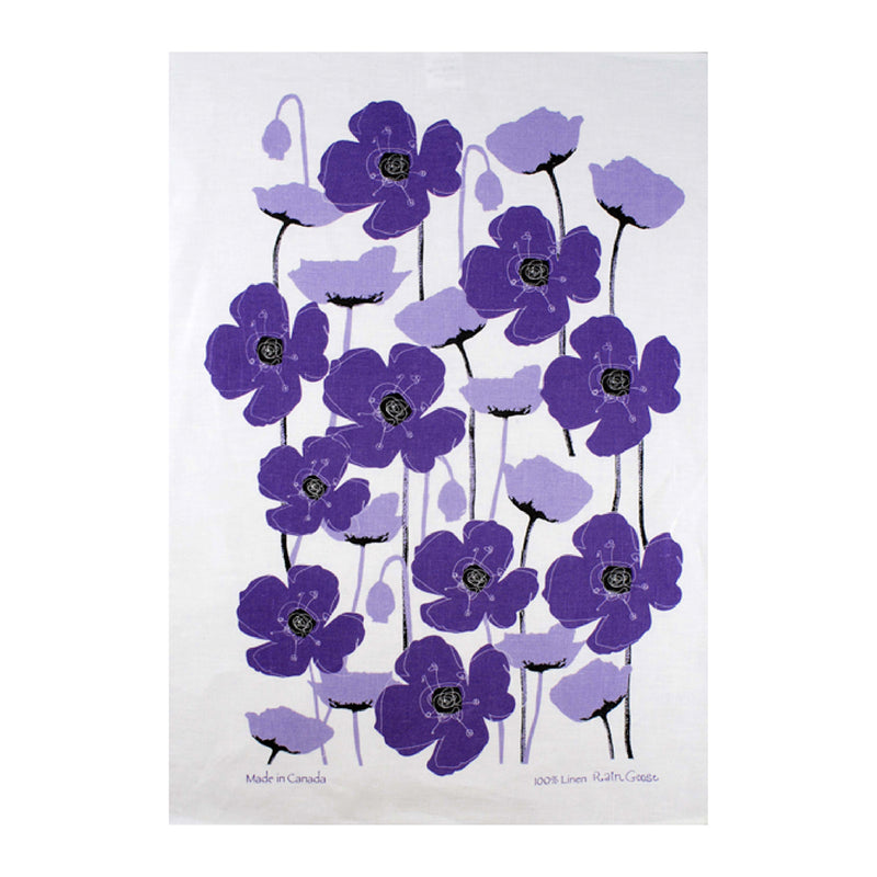 TEA TOWEL - POPPIES PURPLE
