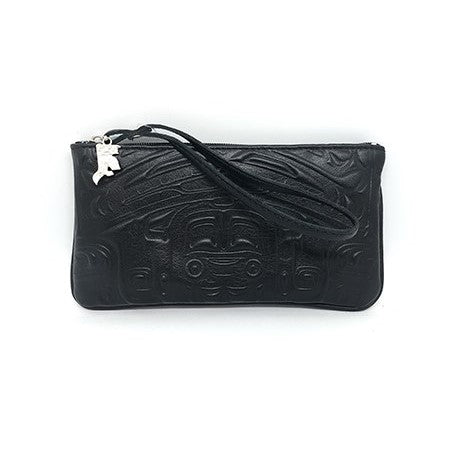WRISTLET - EMBOSSED BEAR BOX DESIGN - BLACK LEATHER