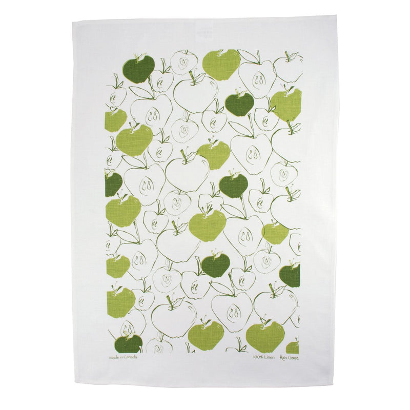TEA TOWEL - APPLES GREEN