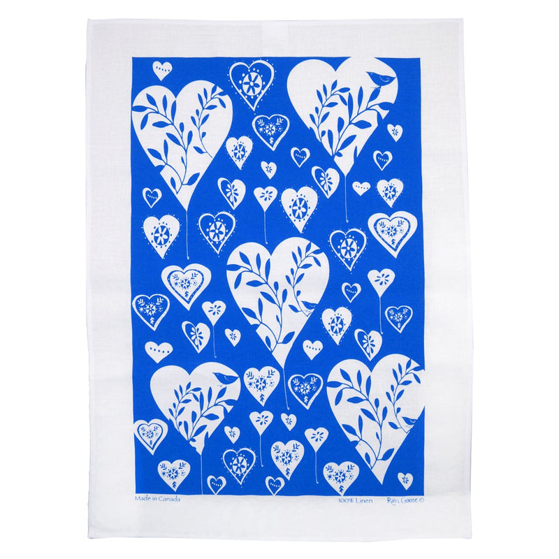 TEA TOWEL - HEARTS BLUE