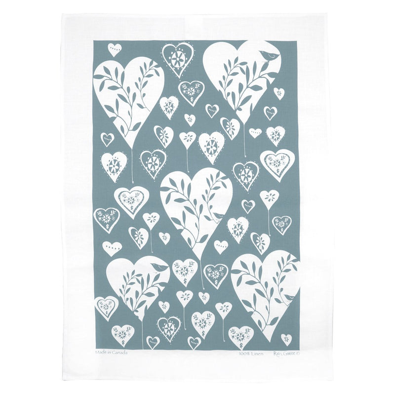 TEA TOWEL - HEARTS GREY