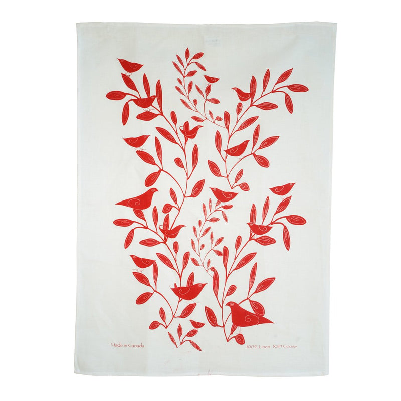 TEA TOWEL - BIRDS AND TREE RED