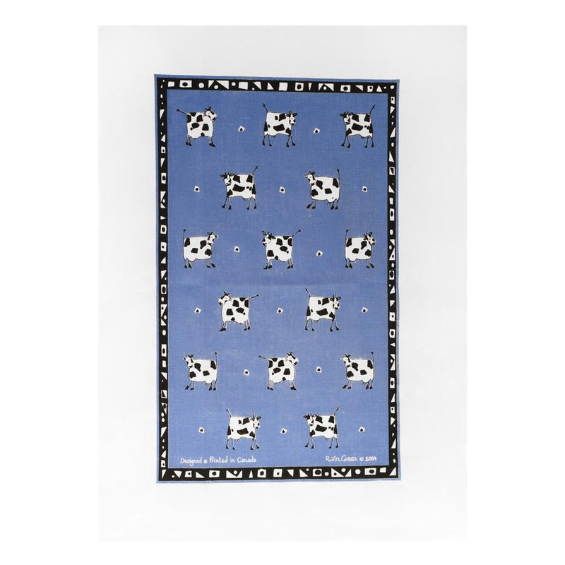 TEA TOWEL - COW BLUE