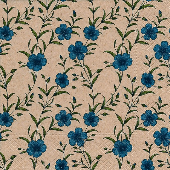 NAPKINS - LUNCH - BLUE FLOWERS