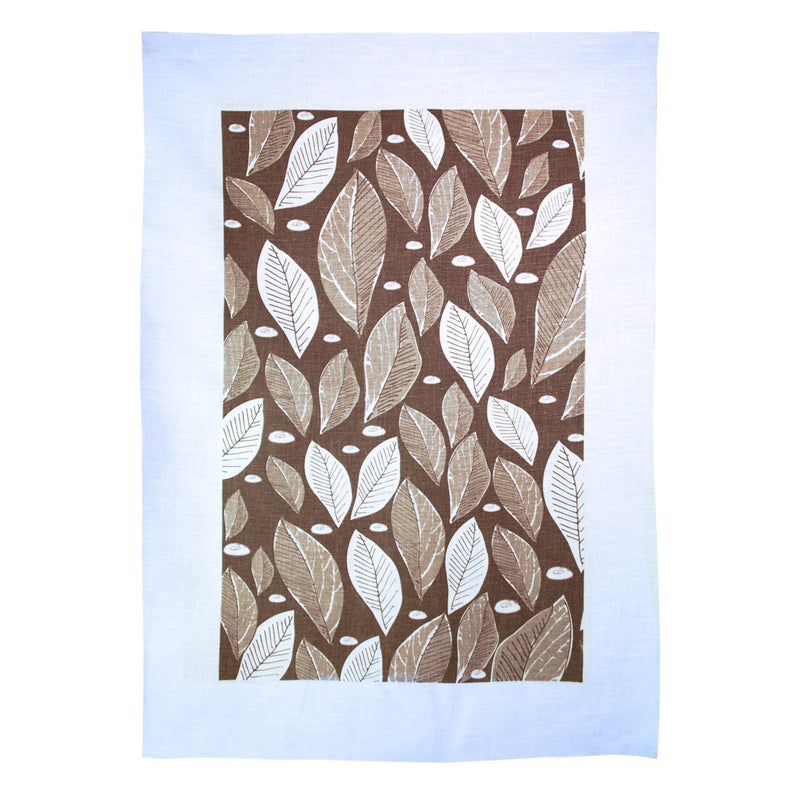 TEA TOWEL - LEAF TAUPE
