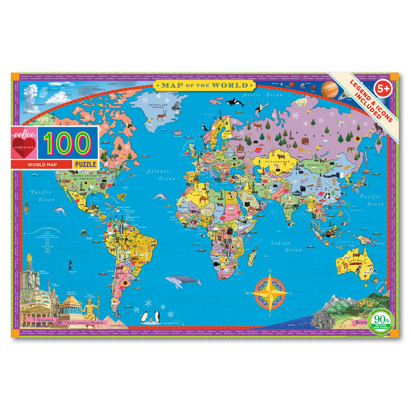 PUZZLE - 100 PIECE - WORLD MAP