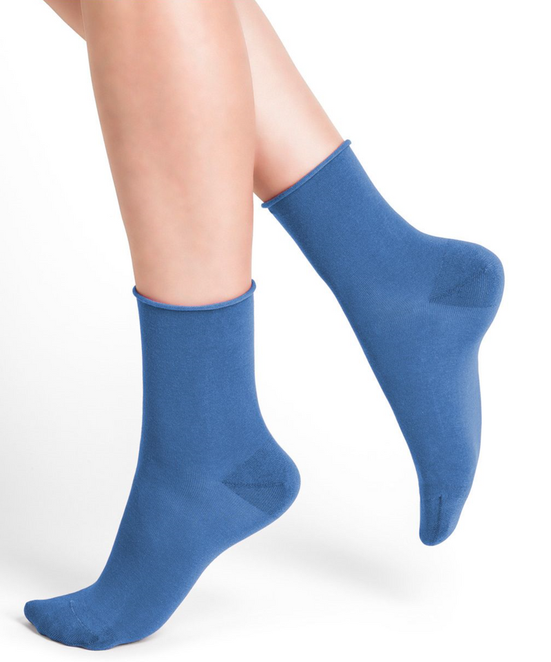 SOCKS - BLEUFORÊT COTTON ANKLE ROLL TOP - AZURE