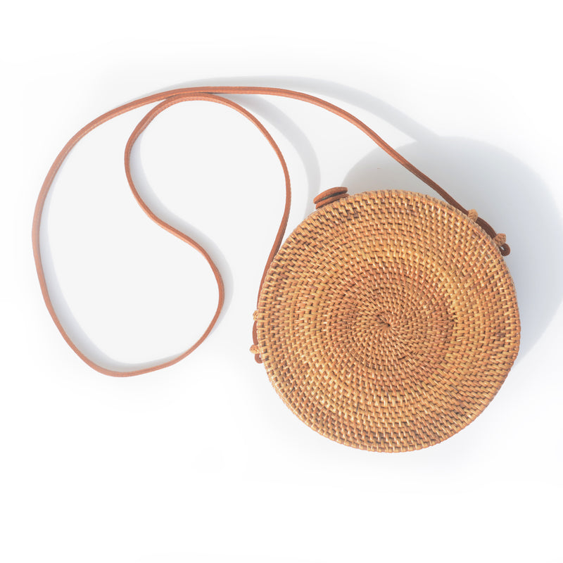 PURSE - ROUND HANDWOVEN CROSSBODY PURSE