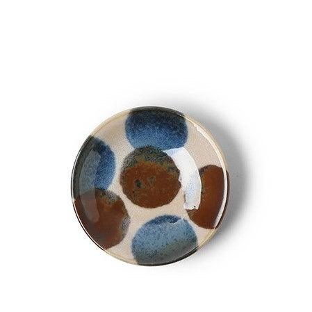 "CERAMICS - BLUE & BROWN 3.5"" SAUCE DISH"