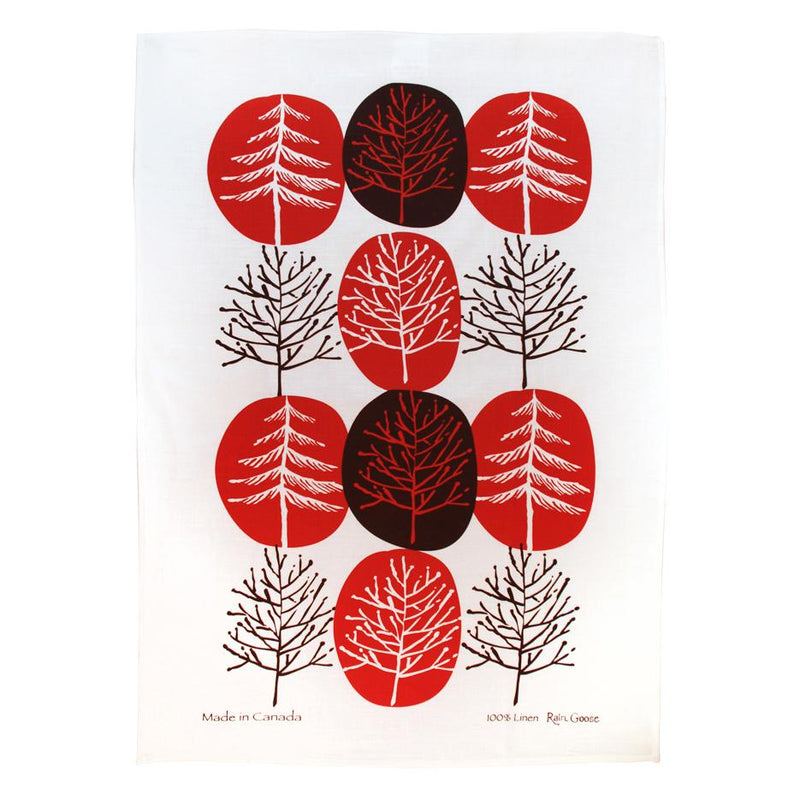 TEA TOWEL - TREE RED
