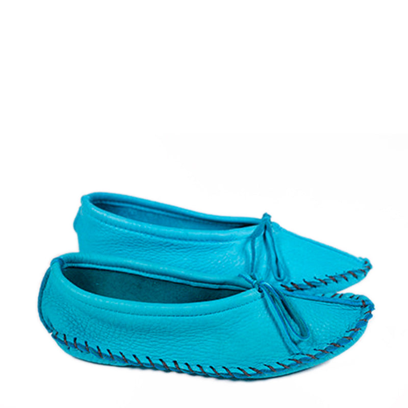 SLIPPERS - WOMEN'S DEERSKIN BALLET SLIPPERS - TURQUOISE
