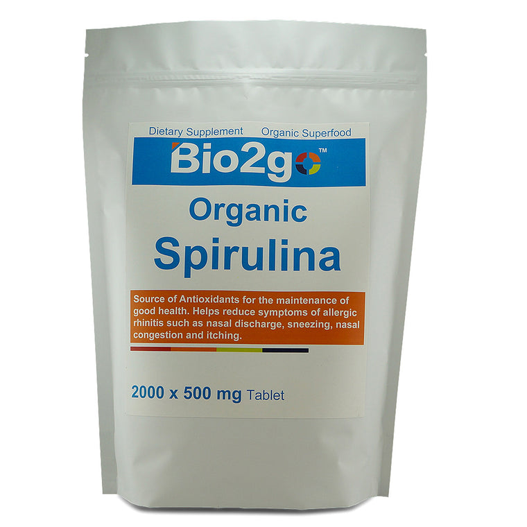 Bio2go™ USDA Certified Organic Spirulina Tablet Economic Bag (2000 Tablets)