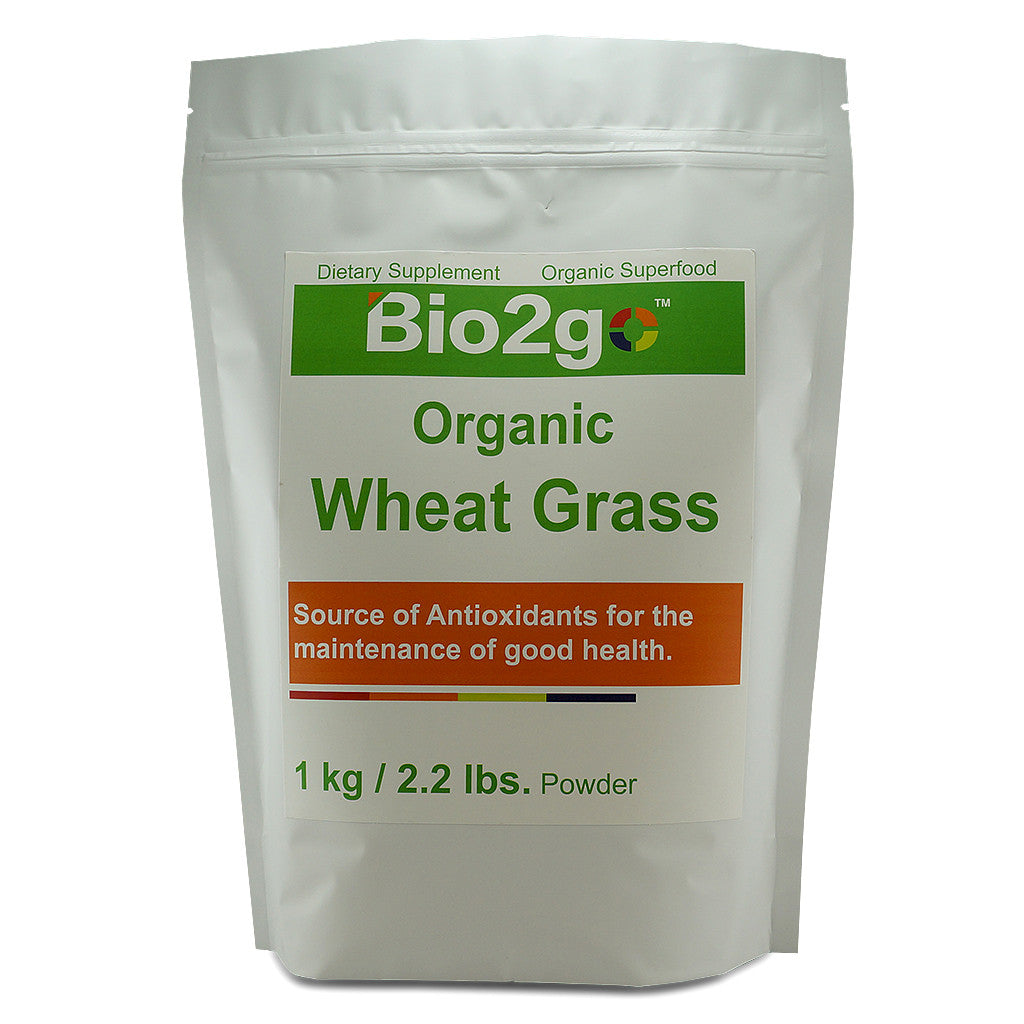 Bio2go™ USDA Certified Organic Wheat Grass Powder Economic Bag (1 kg / 2.2 lbs)