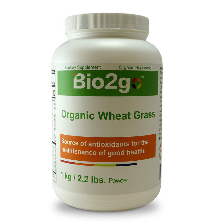 Bio2go™ USDA Certified Organic Wheat Grass Powder Bottle (1 kg / 2.2 lbs)