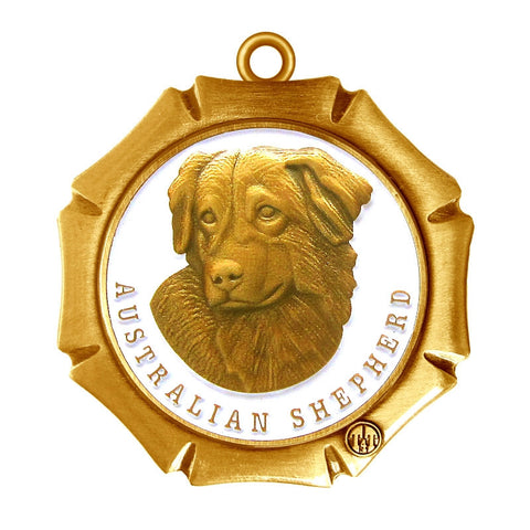 Australian Shepherd Dog Id Tag Antique Gold Finish - Tags4Tails