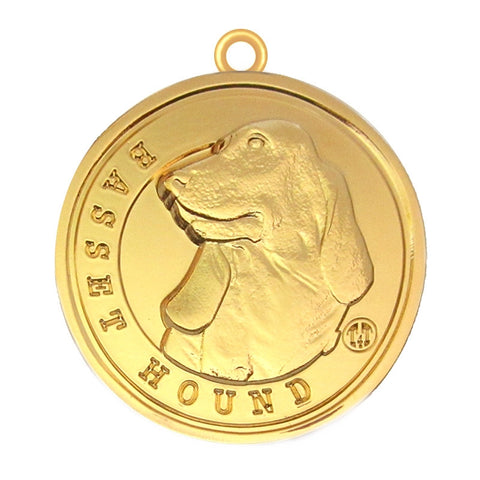 Basset Hound Dog Id Tag Gold Finish - Tags4Tails