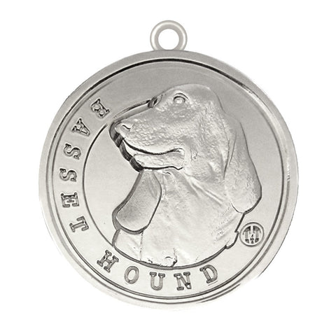 Basset Hound Dog Id Tag Silver Finish - Tags4Tails