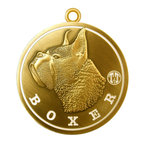 Boxer Id Tag Antique Gold Finish - Tags4Tails