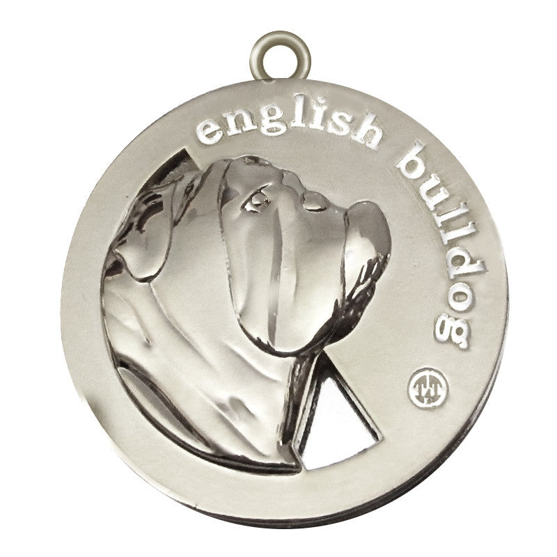 English Bulldog Id Tag Silver Finish - Tags4Tails