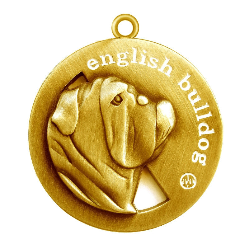 English Bulldog Id Tag Antique Gold Finish - Tags4Tails