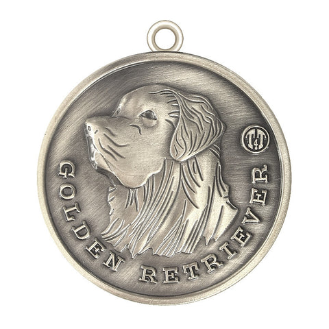 Golden Retriever Dog Id Tag Antique Silver Finish - Tags4Tails
