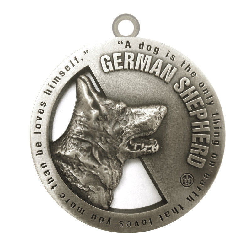 German Shepherd Dog Id Tag Antique Silver Finish - Tags4Tails